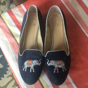Embroidered Elephant Navy Flats- size 9.5